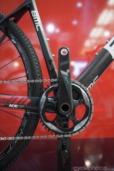 The front of the 2015 BMC CrossMachine CX01 at the 2014 Eurobike Bike show in Friedrichshafen, Germany.