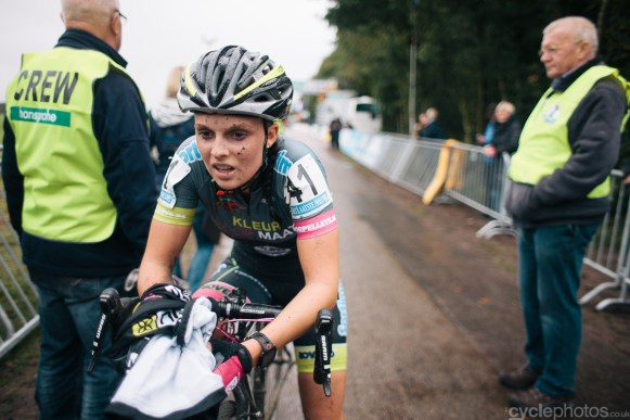 Karen Verhestraeten regains composure after the Superprestige cyclocross race in Gieten, in 2014. Photo by Balint Hamvas / cyclephotos.co.uk