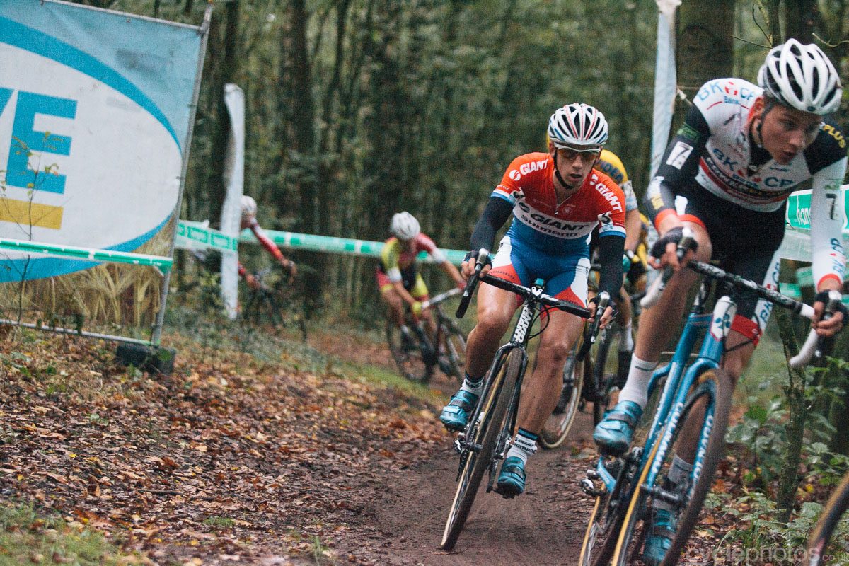 Lars van der Haar chases Mathieu van der Poel in the second lap of the Superprestige cyclocross race in Gieten, in 2014. Photo by Balint Hamvas / cyclephotos.co.uk