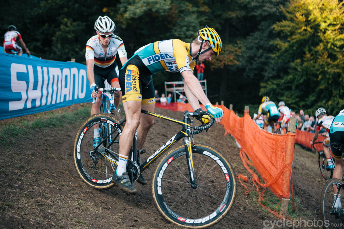 Corne van Kessel rides in the penultimate lap of of the first cyclocross World Cup race of the 2014/2015 season in Valkenburg.