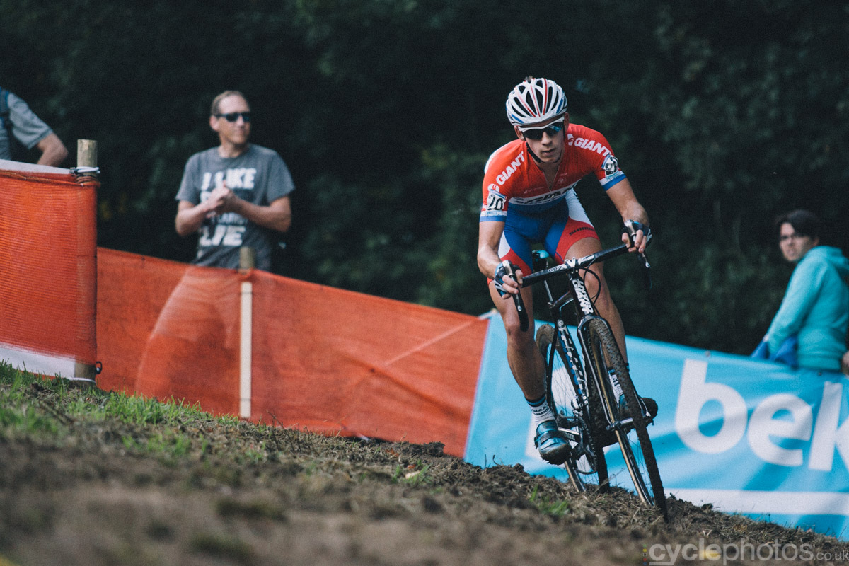 Lars van der Haar leads the of the first cyclocross World Cup race of the 2014/2015 season in Valkenburg.
