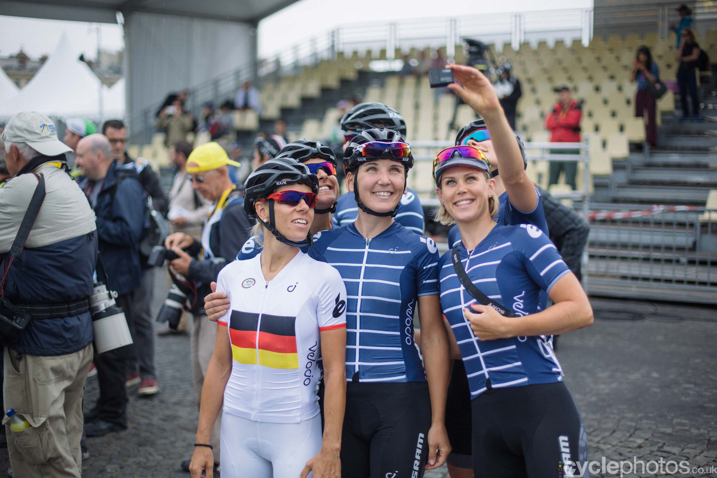Team Velocio SRAM before the 2015 edition of the La Course by Le Tour women's road cycling race.
