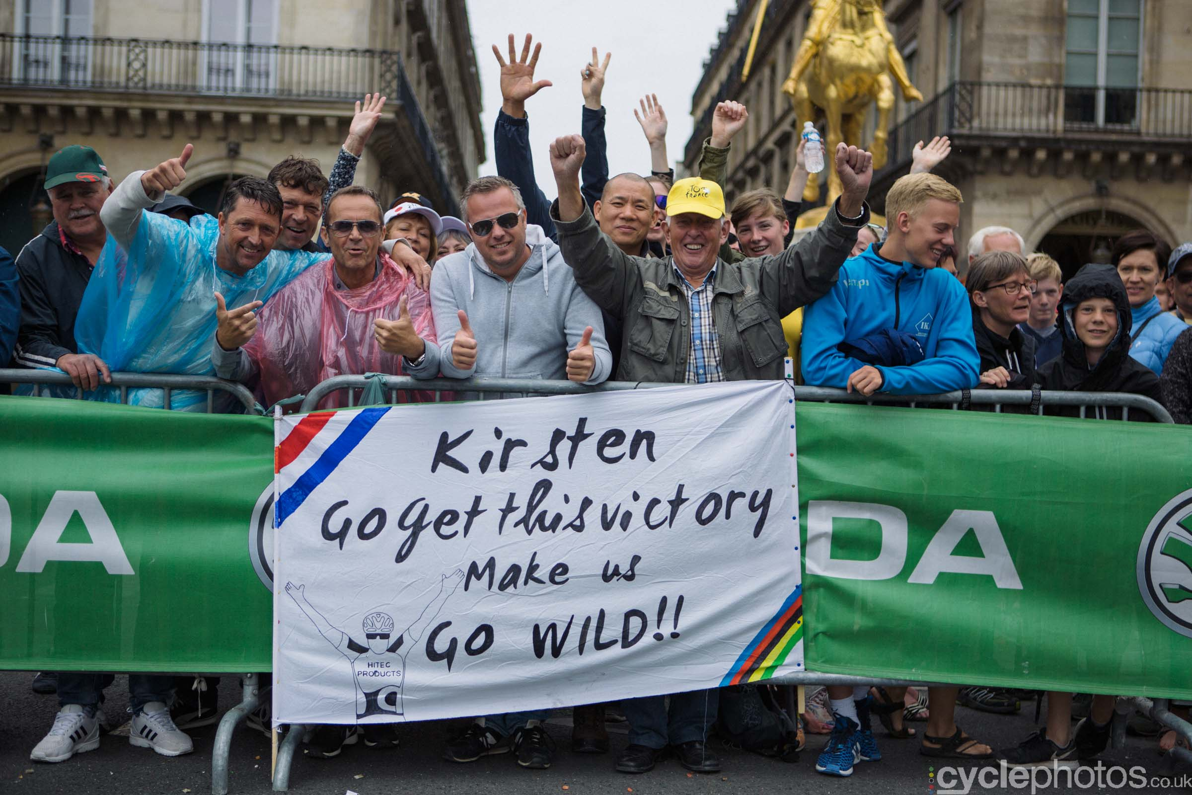 Kirsten Wild supporters before the 2015 edition of the La Course by Le Tour women's road cycling race.
