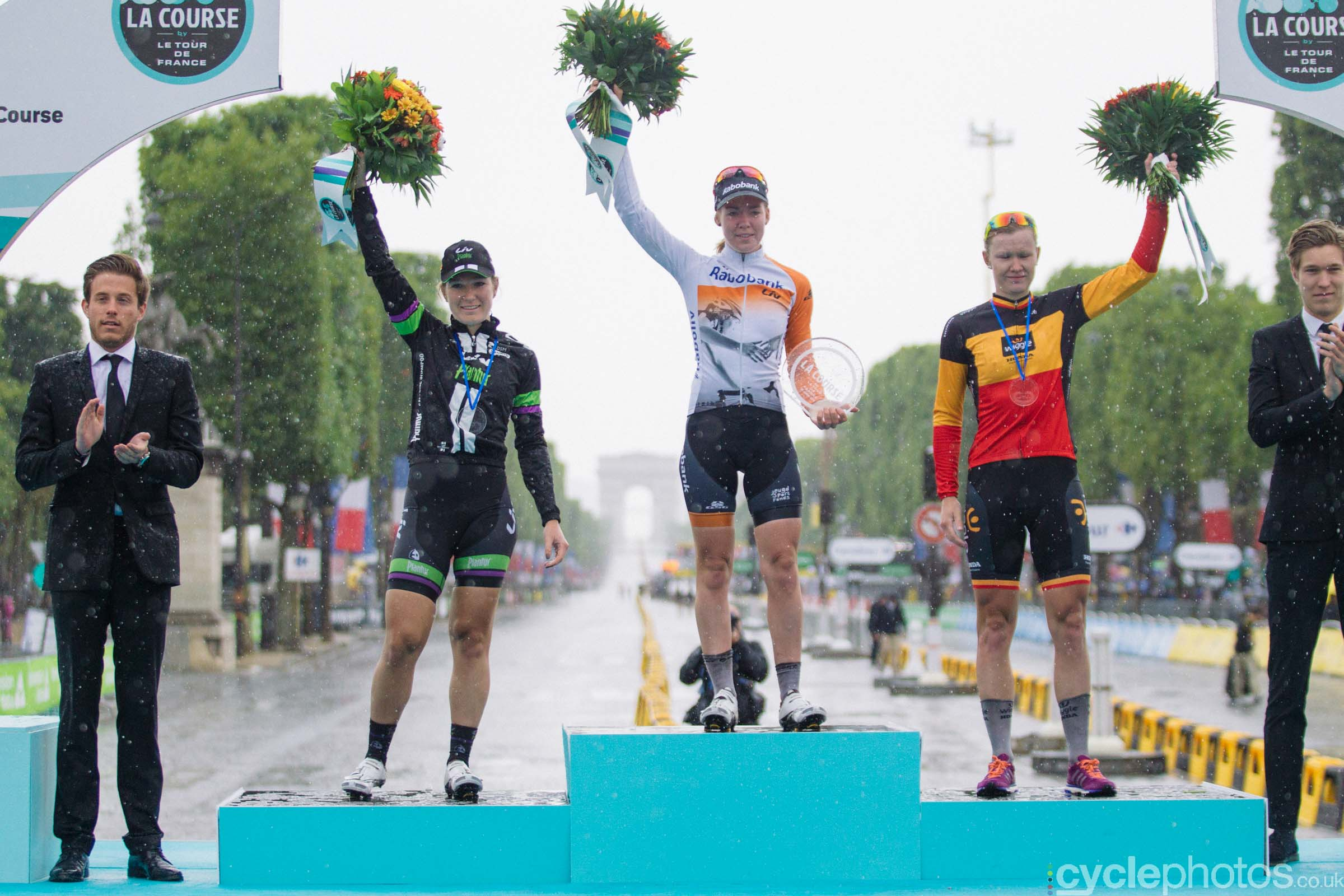 The podium of the 2015 edition of the La Course by Le Tour women's road cycling race.