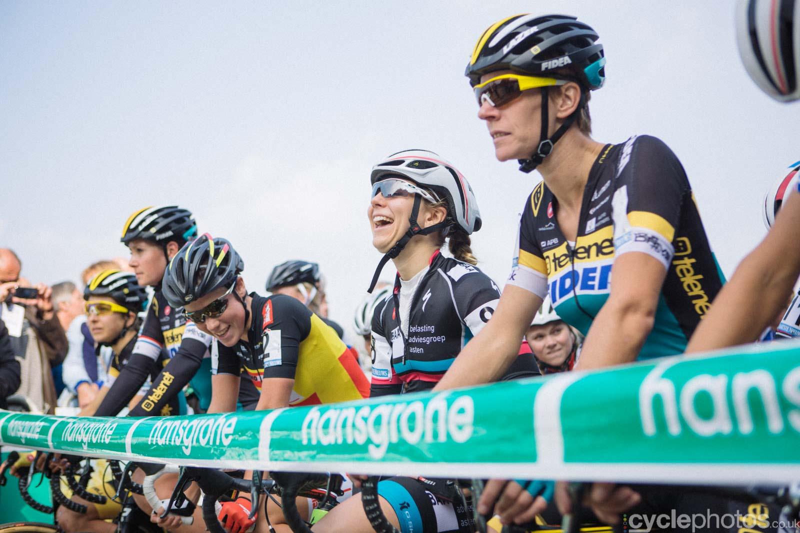 Sanne van Paassen laughs before the start of the women's Superprestige race in Gieten, The Netherlands. All rights reserved. �Balint Hamvas / Cyclephotos