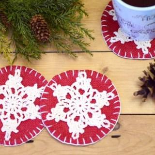 Snowflake Crochet Burlap Coaster