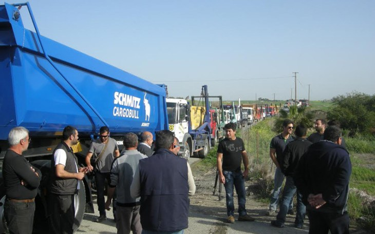 Waste drivers protest in Larnaca