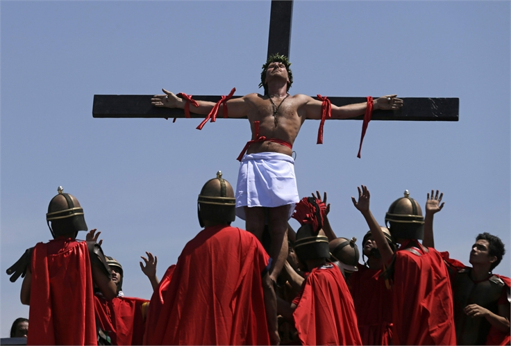 Re-enactment of the crucifixion of Jesus Christ on Good Friday