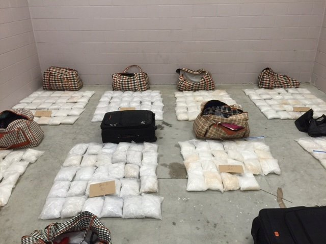 Bags of methamphetamine are displayed in Kaitaia