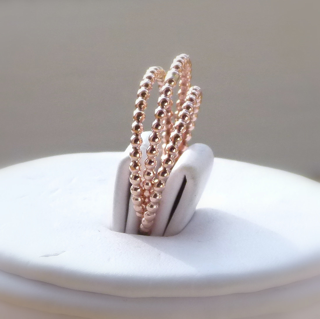 3 14k rose gold filled dotted full beaded unique stackable rings stackable wedding bands 3 14k ROSE gold filled dotted full beaded unique stackable rings