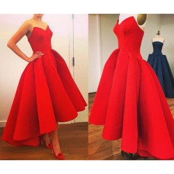Indoor Red Low Prom Asymmetrical Satin Ball Gown Prom Newarrival Sweeart Red Low Prom Asymmetrical Satin Ball Gown Prom Dress Low Prom Dresses That Are Red Under 200 Low Prom Dresses Under 100
