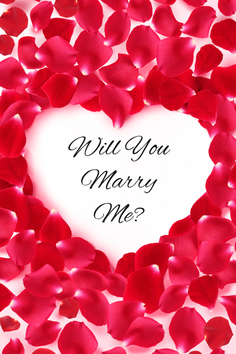 Will You Marry Me? Heart and Rose Petals Template | PosterMyWall