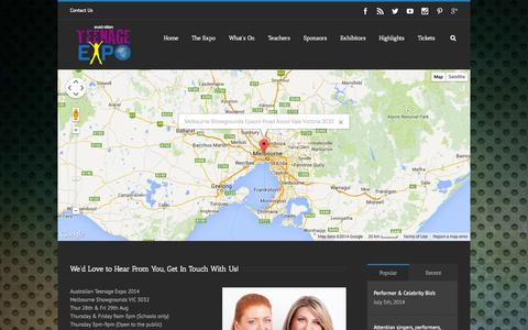 Consumer Services Maps   Directions Pages   Website Inspiration and     Screenshot of Contact Page Maps   Directions Page teenageexpo com au    Teenage Expo