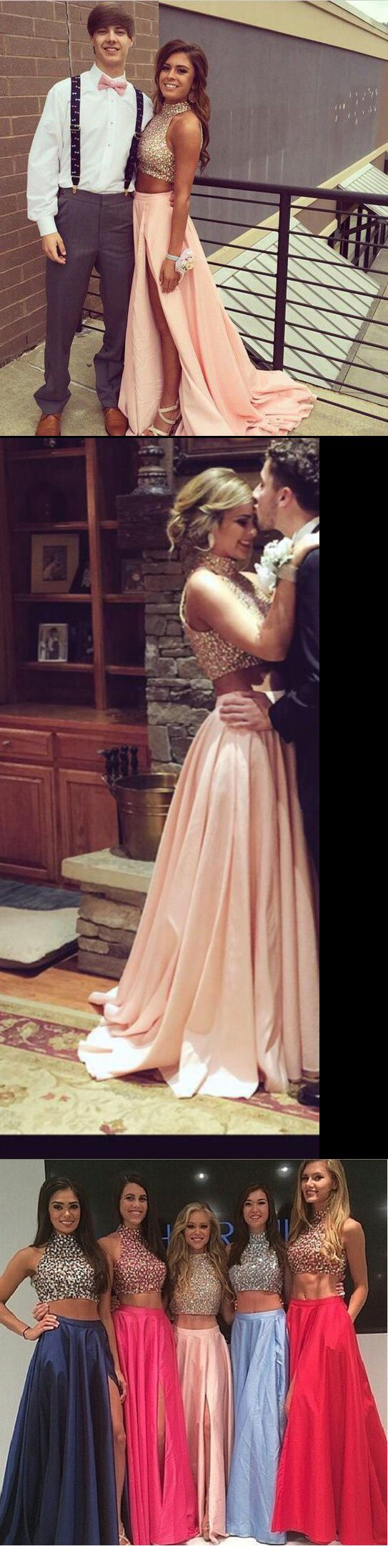 Floor Neck Two Piece Pink Taffeta Long Prom Dresses Sexy Eveningprom Neck Two Piece Pink Taffeta Long Prom Dresses Sexy Prom Dresses 2016 Philippines Prom Dresses 2016 Black wedding dress Prom Dresses 2016