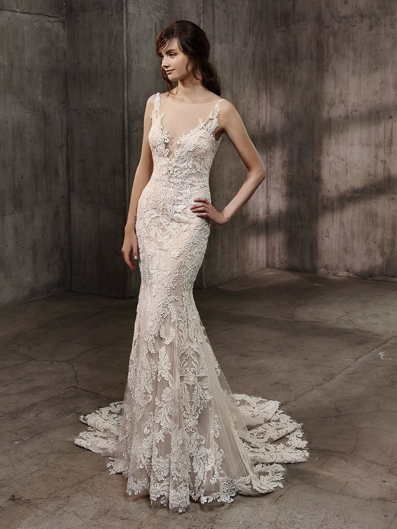form fitting wedding dresses Badgley Mischka Bride Collection Aubree wedding dress lace embroidery illusion plunging neck