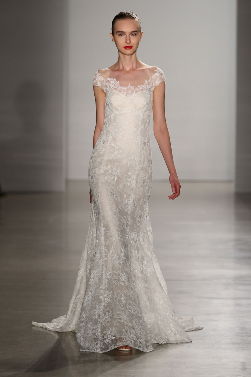 wedding dresses for fall Christos Fall fit and flare lace wedding dress with off the shoulder straps