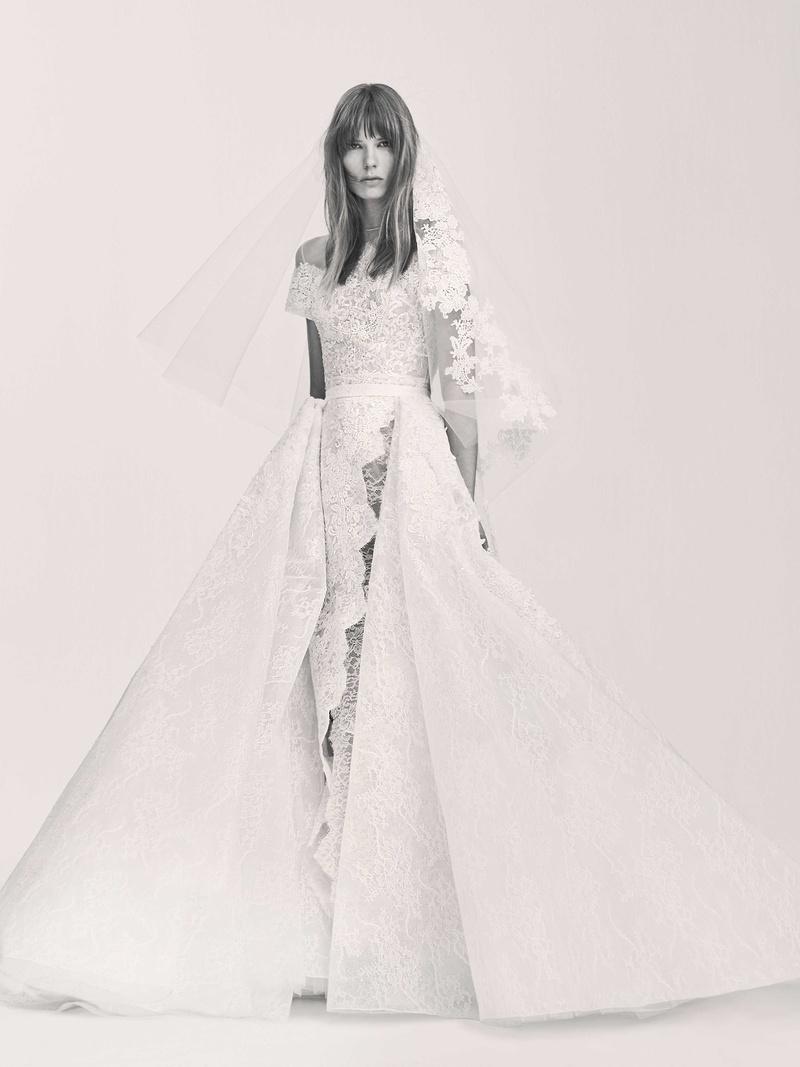 elie saab wedding dress Black and white photo of Elie Saab Bridal Spring short sleeve wedding dress lace with