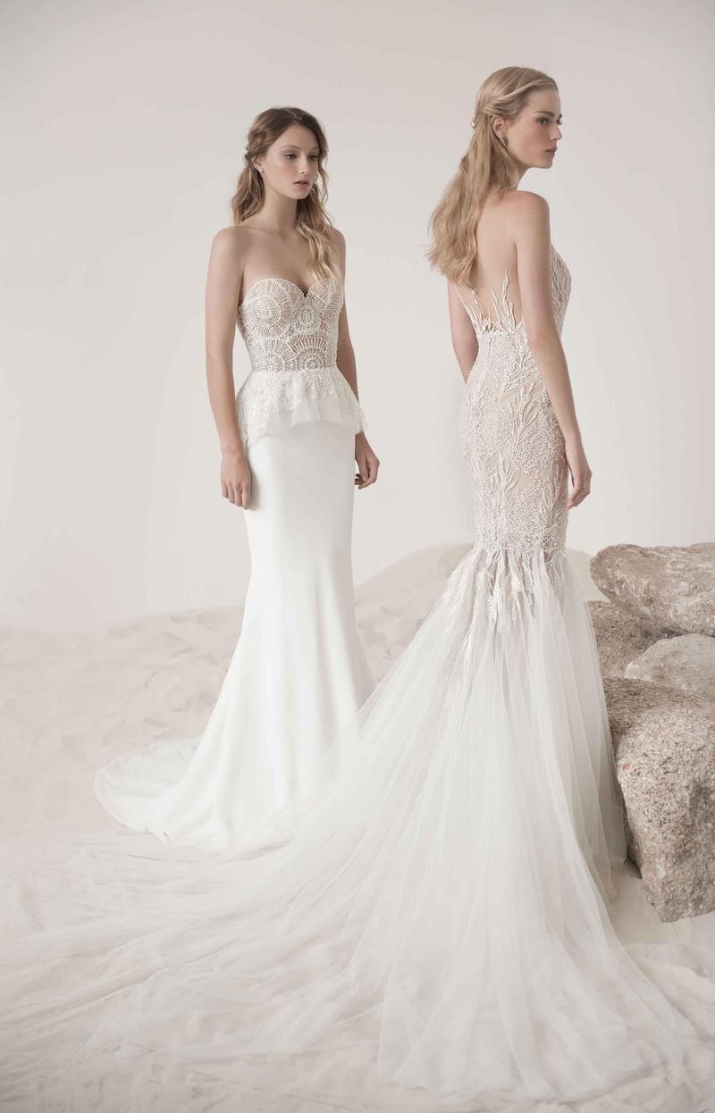 poppy coral by lee grebenau coral dress for wedding Poppy peplum wedding dress and mermaid coral gown