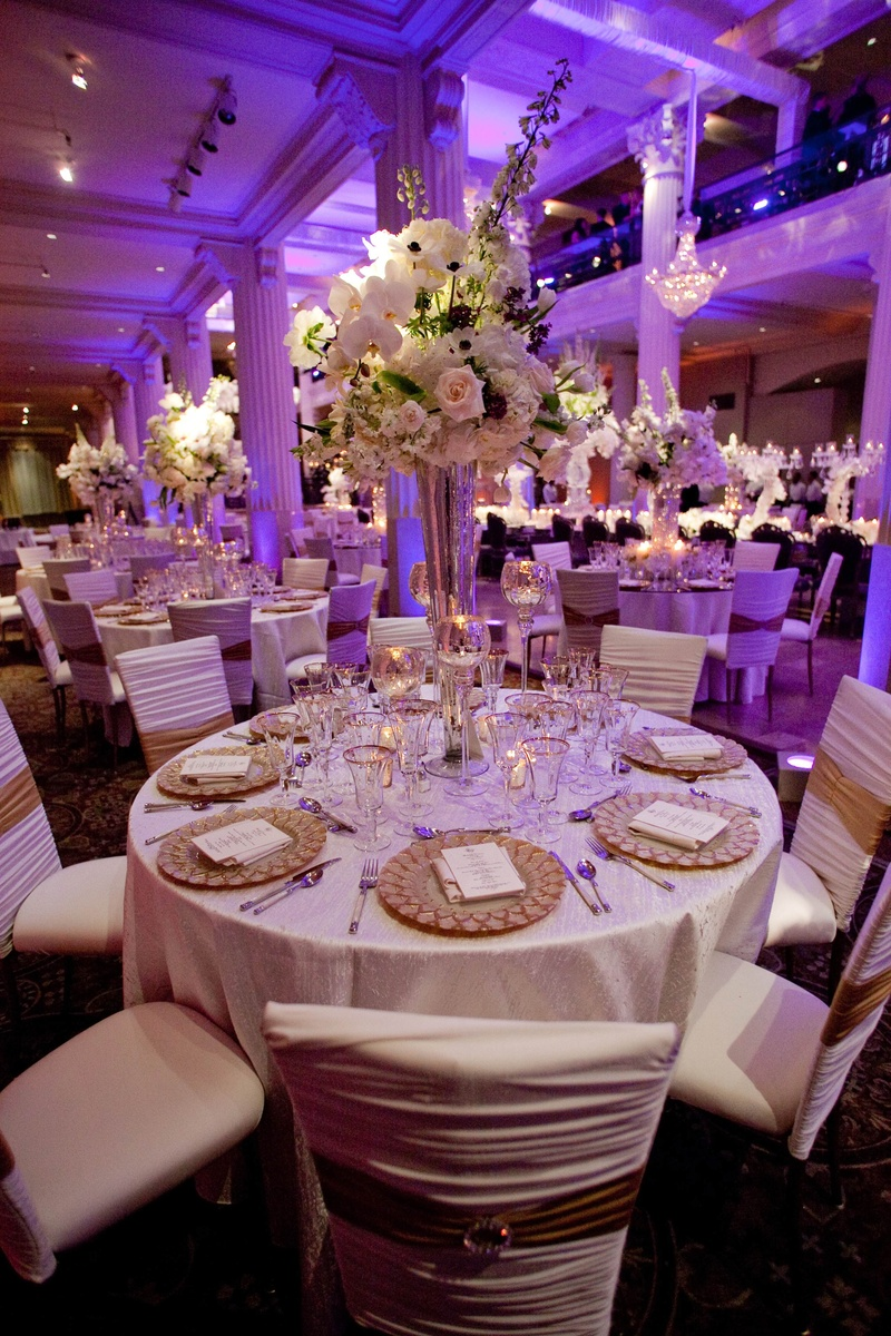 white gold tablescape purple and gold wedding Purple wedding lighting with white and gold table decorations