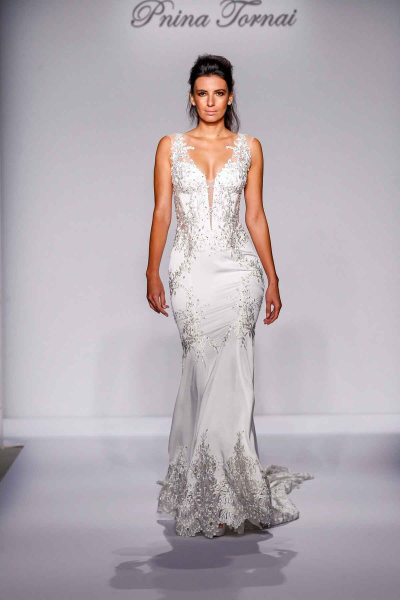 style by pnina tornai silver wedding dresses Pnina Tornai for Kleinfeld fit and flare wedding dress with silver embroidery