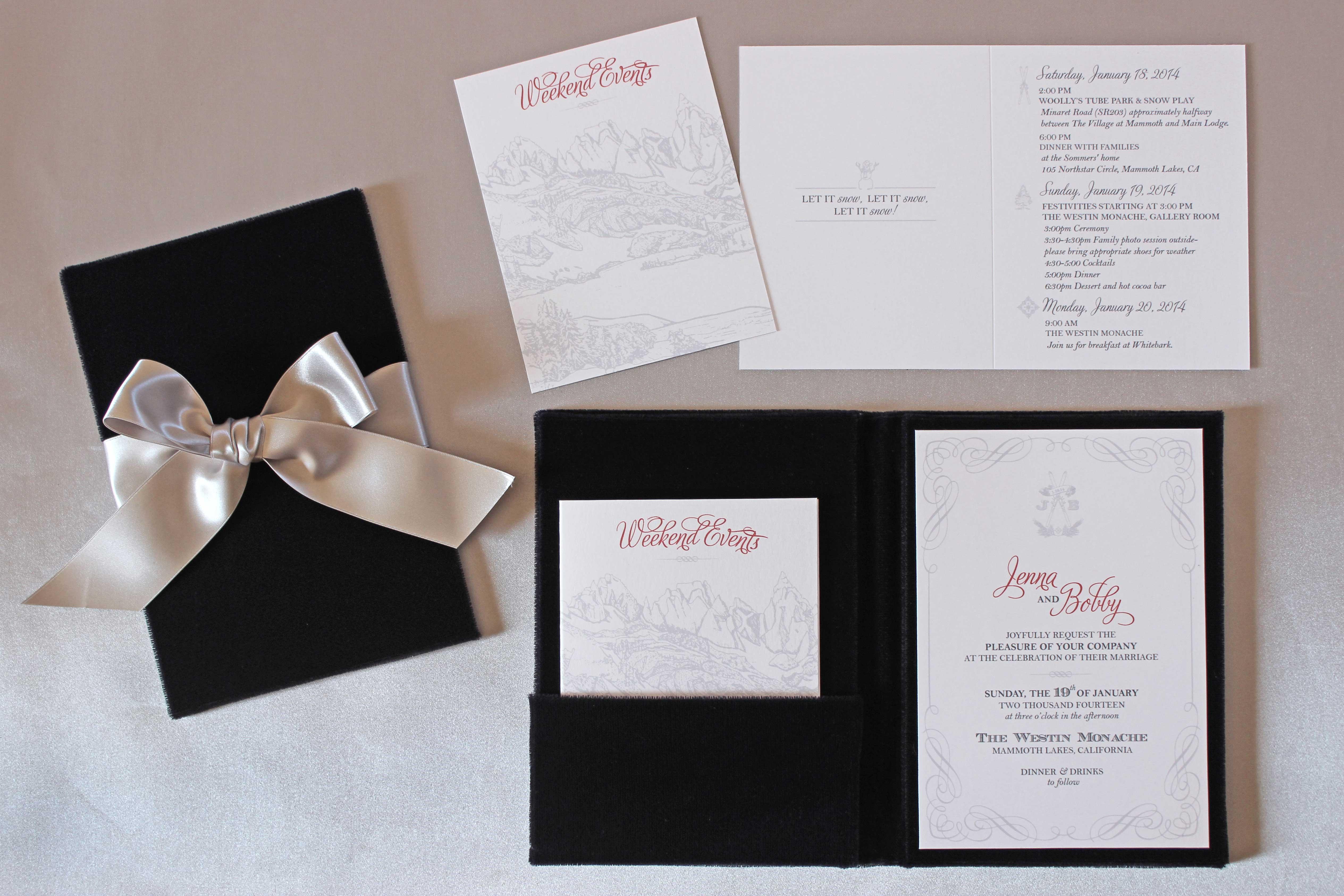 wedding invitation suites Zenadia Design winter wedding invitation with bow