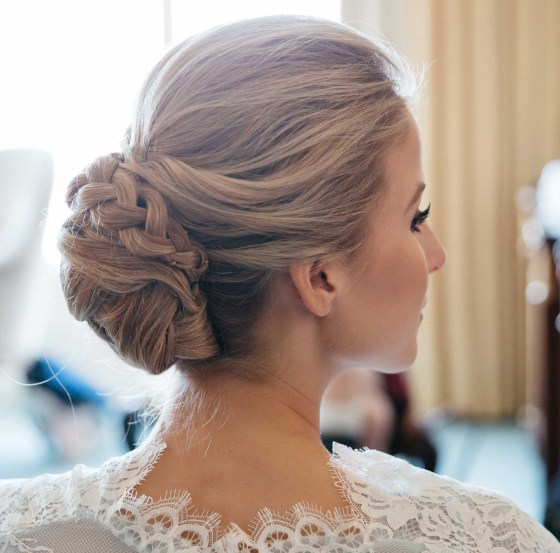 braided updo chignon wedding hair bridal bride
