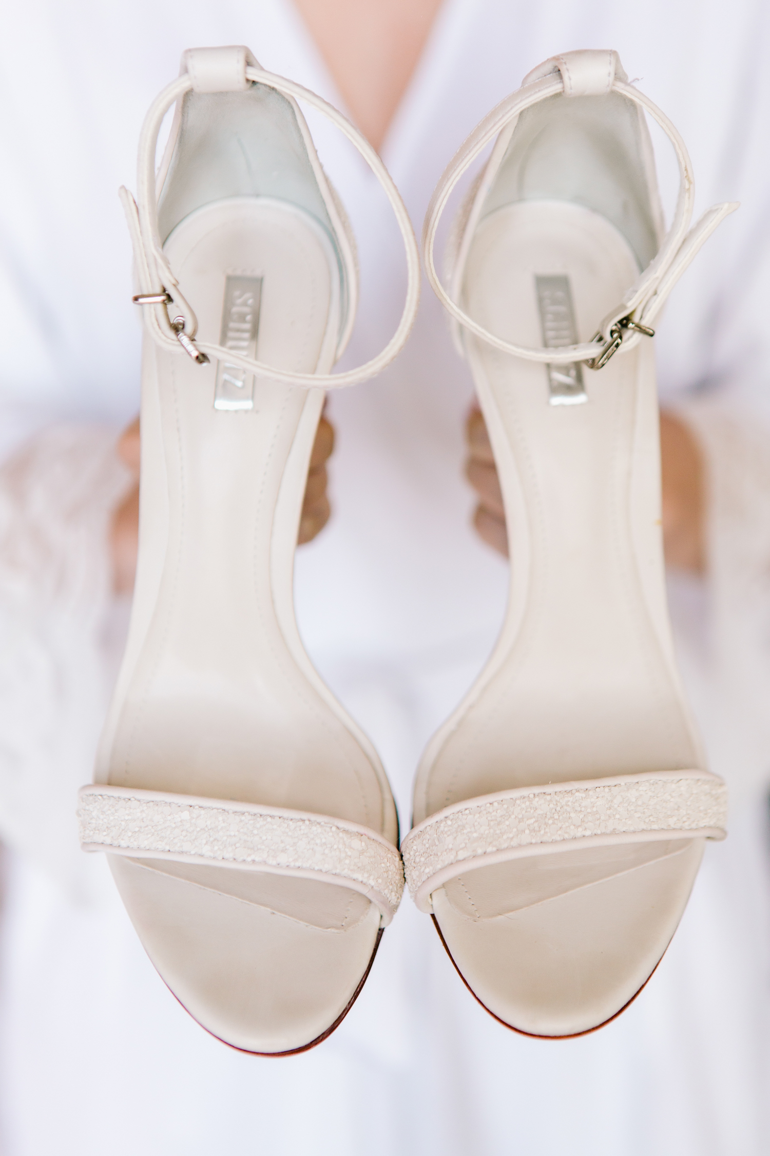 wedding sandals Simple white wedding shoe sandals with ankle strap open toe