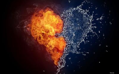 Fire and Water in the Shape of Love Heart - Wallpaper - Faxo - Faxo
