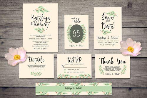 Magnificent Nature Wedding Invitation Suite Example Image Nature Wedding Invitation Suite By Iamw Design Bundles Wedding Invitation Suites Nautical Printable Wedding Invitation Suites