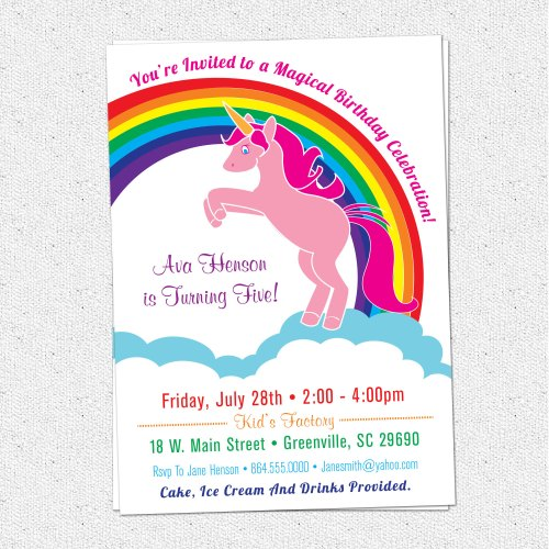 Medium Of Unicorn Birthday Invitations
