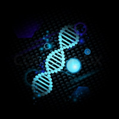 Science theme with DNA over abstract ...   Stock Photo   Colourbox