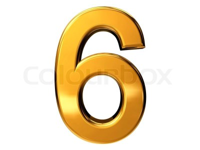 Gold number six isolated on white ... | Stock Photo | Colourbox