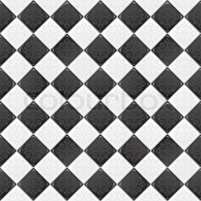 Black And White tile with retro victorian ornament EPS 10 vector seamless background | Stock ...