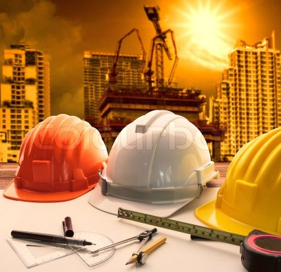 Safety helmet on architect ,engineer ... | Stock Photo | Colourbox
