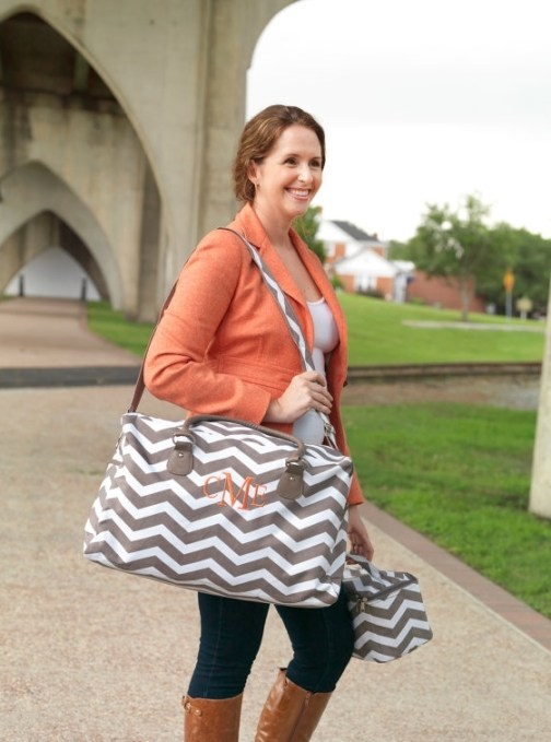 Personalized chevron weekender bag
