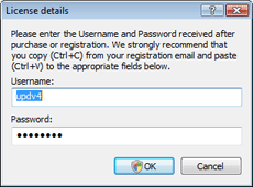 Entering User name and password | Nod32