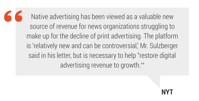 Native advertising quote New York Times