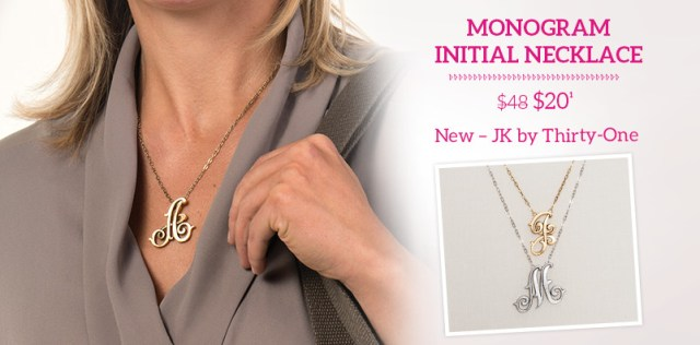 Monogram Initial Necklace $20 New - JK by Thirty-One
