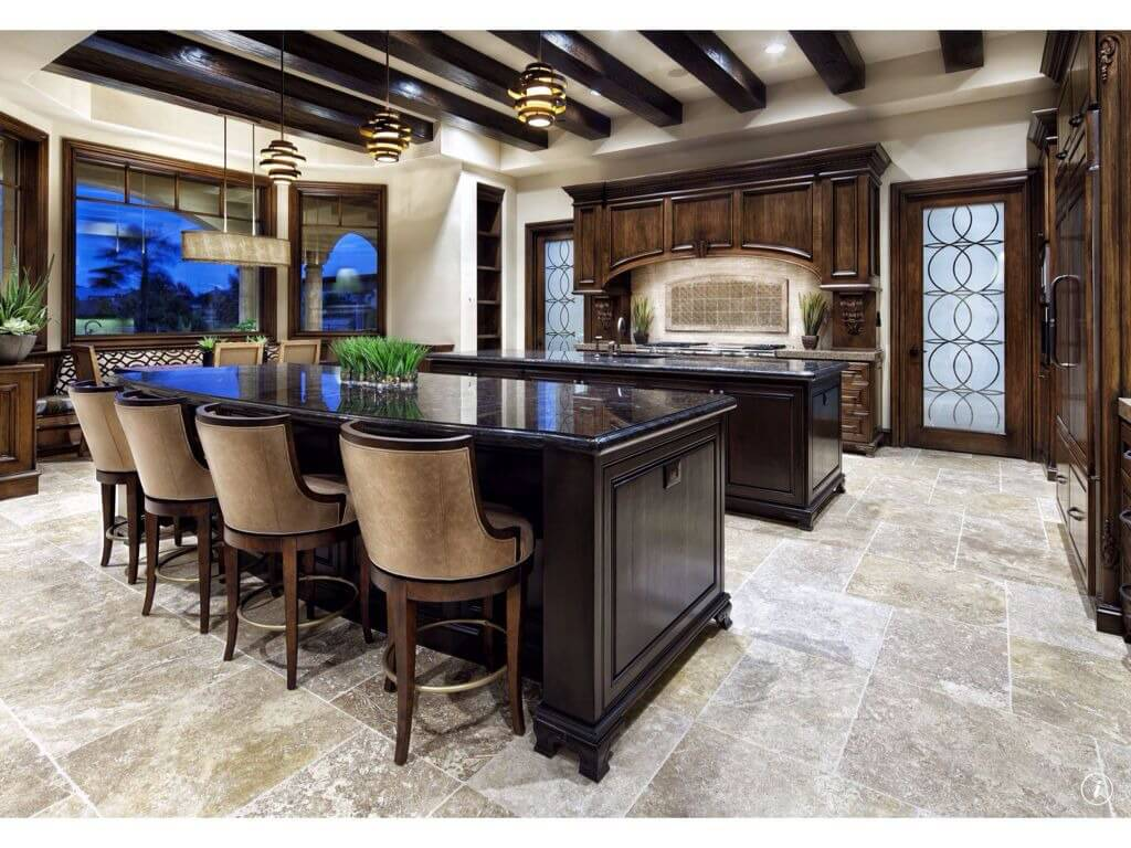 dream kitchen designs kitchen floor cabinets Ultra luxurious materials in this kitchen include marble flooring dark wood twin islands with black