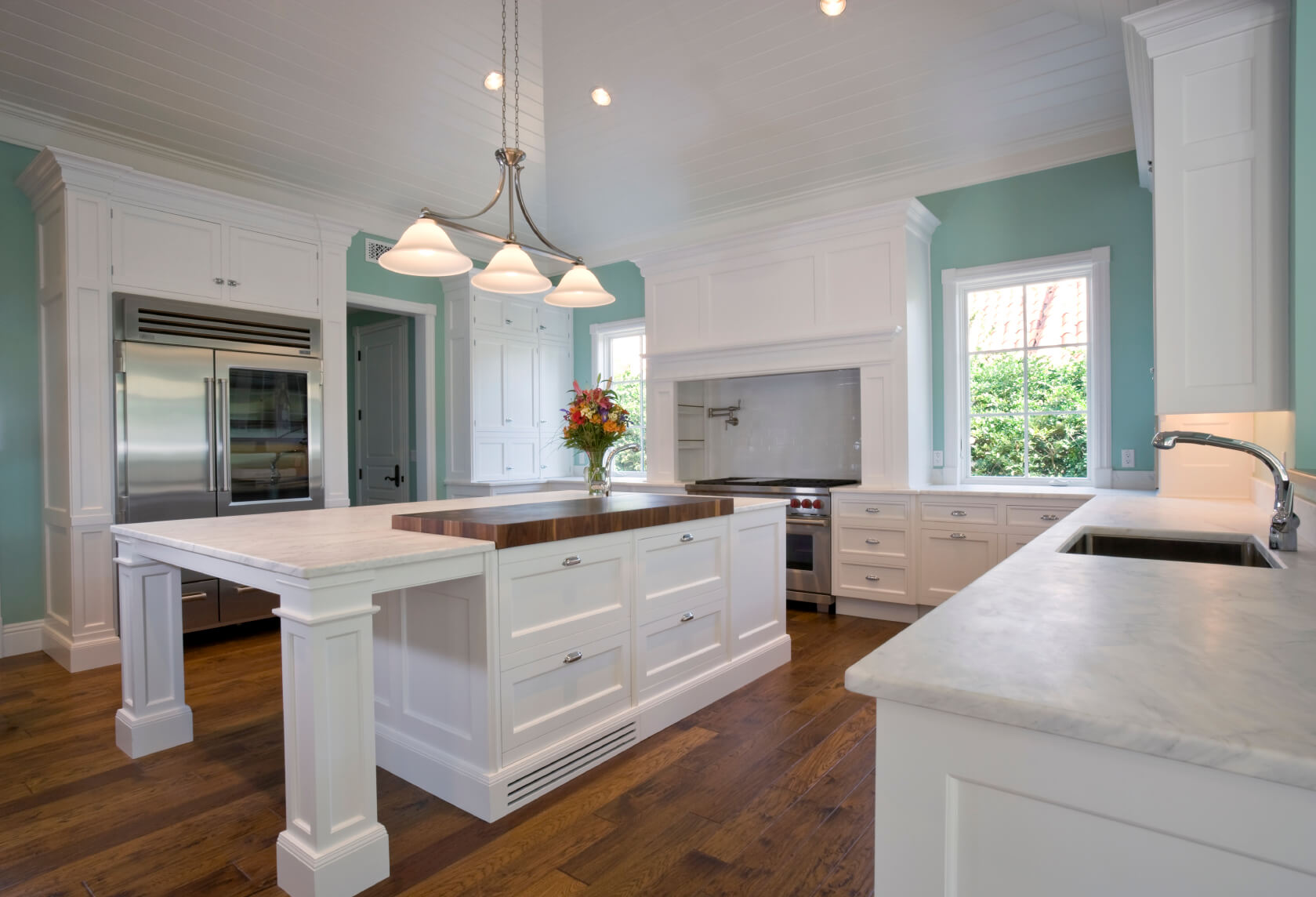 white kitchen designs pictures marble kitchen countertops Light mint blue paint adds burst of color to this all white kitchen over natural