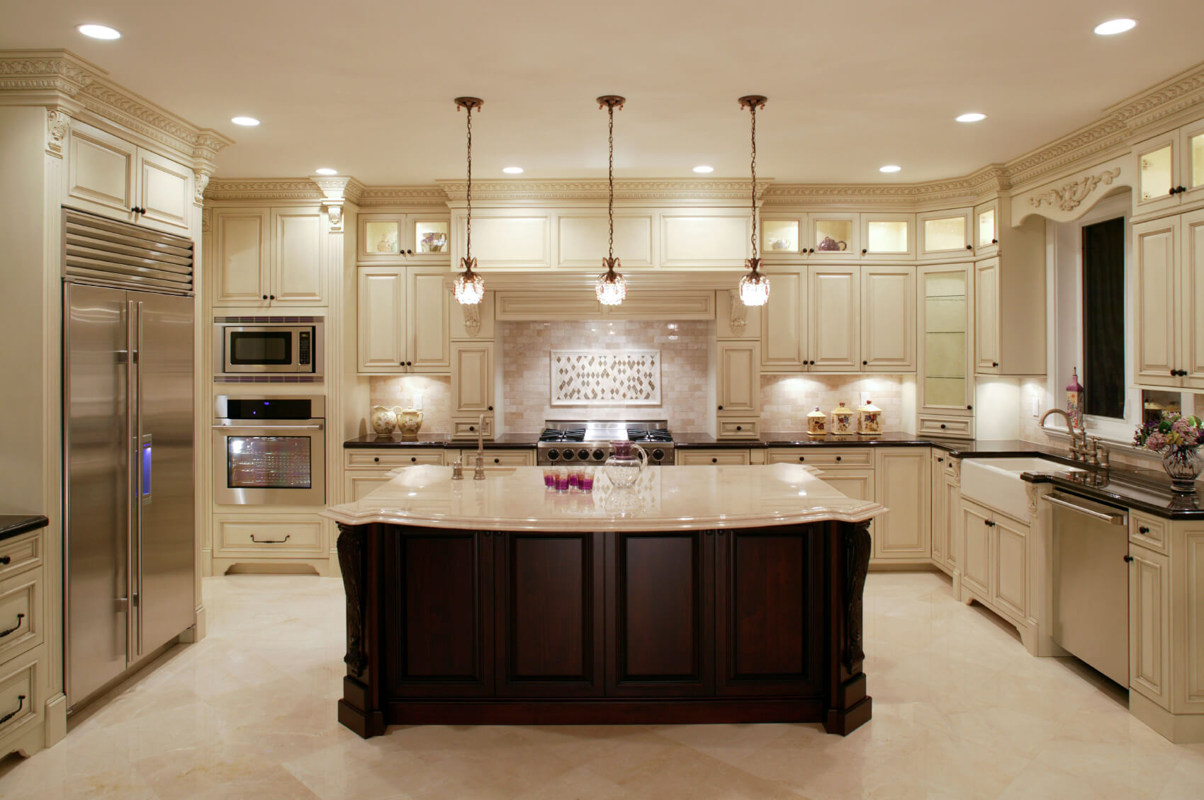 u shaped kitchen designs kitchen design gallery This U shaped kitchen centers around a large dark wood island with classic marble countertop