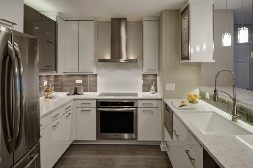 Another Modern Design This Kitchen Features Glossy White Cabinetry Light Marble  Countertops And Cabinets With Countertops89