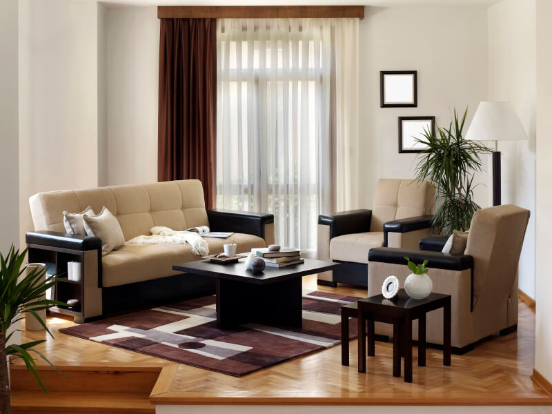 a small living room arrangement on wood floor in chevron pattern the space modern furniture spaces