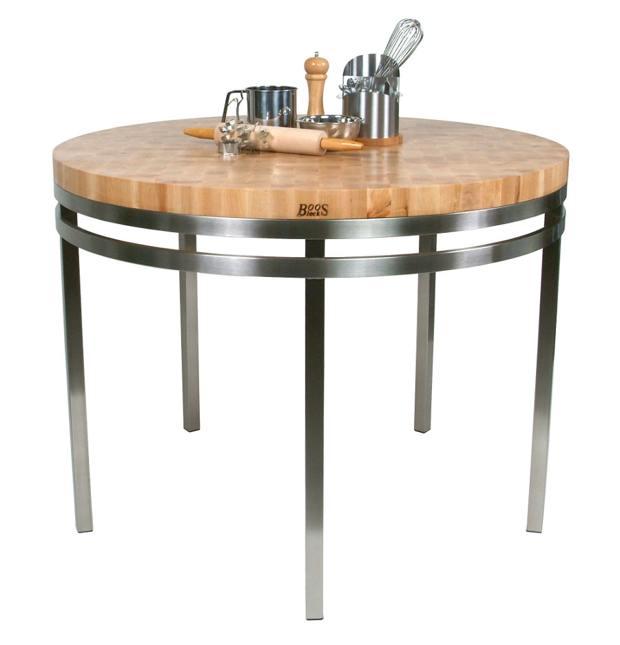 butcher block table kitchen table bakers Boos Maple Stainless Steel Metro Oasis 48 Round Dining Table