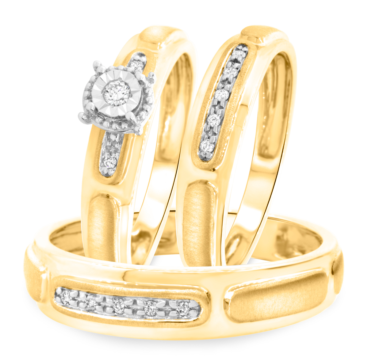 18 carat t w round cut diamond matching trio wedding ring set 14k yellow gold trio wedding ring set 1 8 Carat T W Round Cut Diamond Matching Trio Wedding Ring Set 14K Yellow Gold