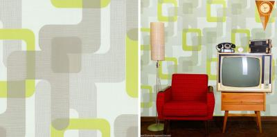 Yellow Feature Wallpaper Living Room - Homebase Wallpaper