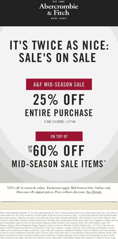Abercrombie & Fitch Coupons - 25% off at Abercrombie & Fitch, or online via promo code 15746