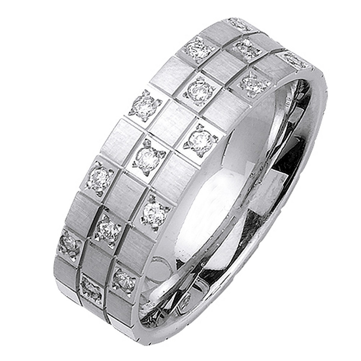 mens wedding rings clearance overstock mens wedding bands 7mm 18K White Gold Men s Diamond Ring 32CT