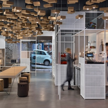 Retail   Interior Design Projects Ofist Decorates an Istanbul Sunglasses Shop With Cork and Cars
