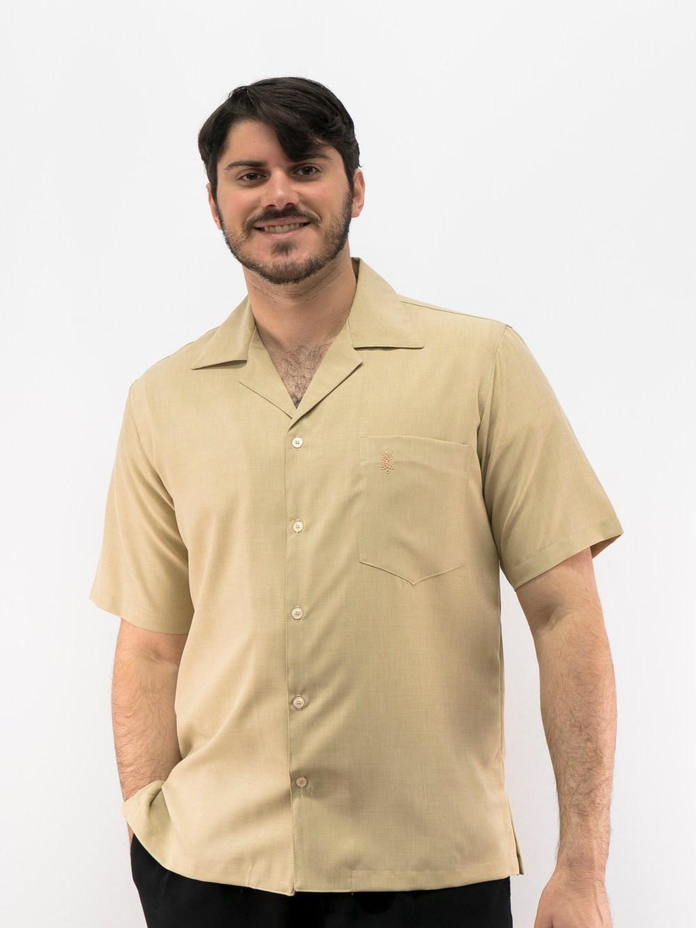 D'Accord Men's Casual Shirt Beige 5152 Made in USA - Guayabera ...